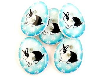Easter Buttons. Rabbit Buttons. 5 Handmade Buttons. Turquoise Easter Egg Rabbit Buttons.  Sewing Buttons.