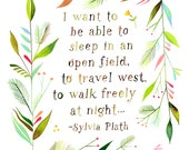 Travel West art print | Sylvia Plath quote | Watercolor quote | Floral Frame