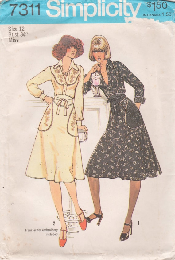 Simplicity 7311 1970s Misses  Shirt and Back Wrap Skirt Pattern Womens Vintage Sewing Pattern Size 12  Bust 34 Uncut