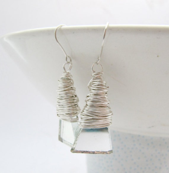 Silver Triangle Earrings, Triangle dangles, Wire wrapped drop earrings, Drop dangles, recycled mirror jewelry, silver earwires