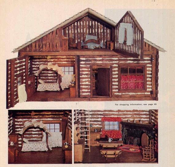 Vintage Log Cabin Dollhouse Plans Pioneer By Allsfairyvintage