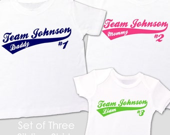 "matching sibling shirts set of  three ""team last name"" sporty big brother big sister shirts"