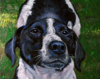 """The Long Stretch, CUSTOM Pet Portrait Oil Painting by puci, 10x12"""""""