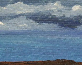 acrylic sky painting, Evening Landscape, original painting on canvas