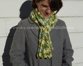 Prairie Meadow Scarf - In Cream, Pond, and Light Moss Variegated