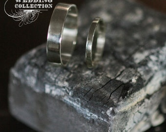 Recycled Hand Forged 14k Palladium White Gold Ring Band Set NO DIRTY GOLD