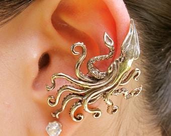 Kraken Ear Cuff - Bronze Steampunk Ear Cuff - Kraken Squid - Kraken Jewelry Kraken Earring - Non Pierced Earring Non Pierced Ear Cuff