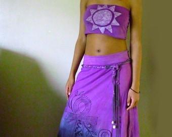 Nubian Ankh Royalnatty stretch cotton long skirt tie dye in purple and greys sz XS to sz XXL with knotted belt...