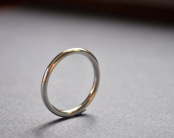 Women's High Shine 2mm Sterling Silver Wedding Band. Round. Gloss. Handmade in Your Size. Custom.