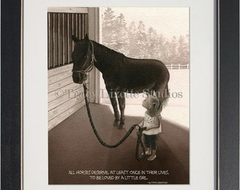 Girl With Horse - archival watercolor print by Tracy Lizotte