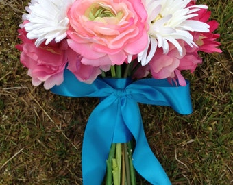 Bright and Cheerful Pink and White Bride Bouquet - Pink Peonies, Roses, Ranunculus with White and Pink Gerbera Daisies