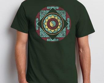 Men's Mandala T-shirt, Graphic Tee, Unisex, Yin Yang, Lotus, Yoga T-shirt, Gift for Him, Art T-shirt, Cool t-shirt
