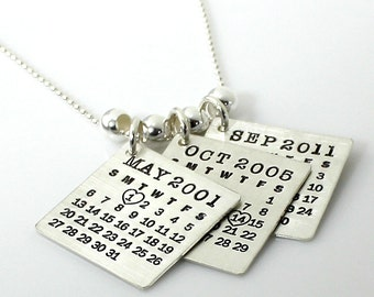 Personalized Calendar Necklace - Triple Up Mark Your Calendar Necklace - personalized sterling silver necklace