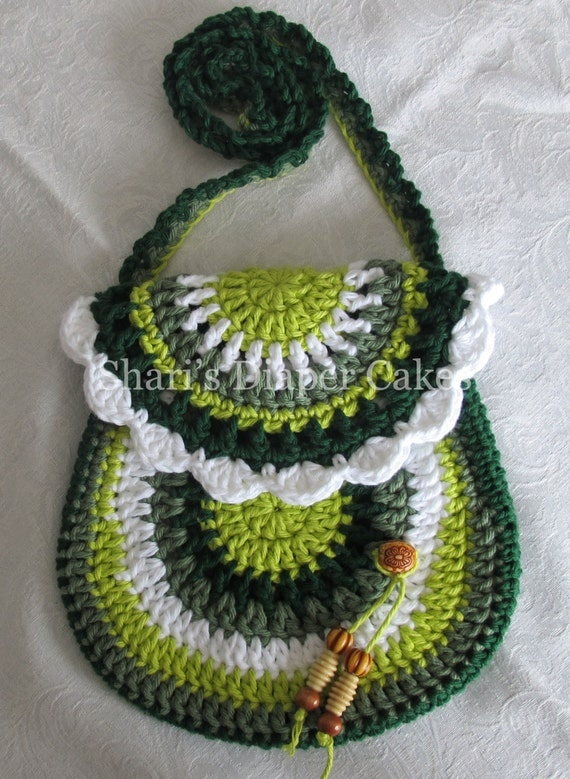 Crochet Shoulder Bag : Multi Green Crochet Purse Shoulder Bag by ShariKaysKreations