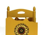 Wooden Napkin Holder Yellow Sunflower Japanese Japan Tilso