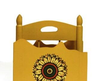 Wooden Napkin Holder Yellow Sunflower Japanese Japan Tilso