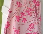 Long tunic top or short dress, pink floral sleeveless A-line, summer flowers sheer top layer lined in cotton gauze medium M size 10 12 i309