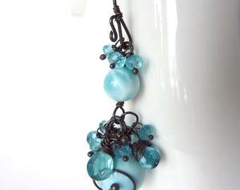 Larimar & Apatite Earrings- Oxidized Sterling Silver  - One of  a Kind  - Free Shipping