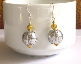 Silver & Gold Ball Drop Earrings - Winter Holiday Jewelry