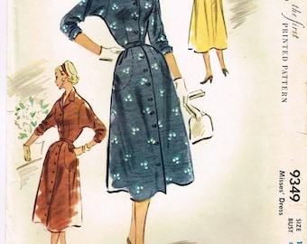 Original 1950's Front Button Dress Pattern Size 12 Bust 30 Mccall's 9349