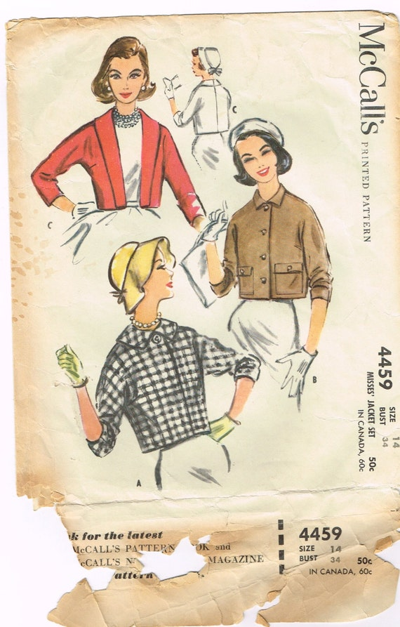 Original 1950's Women's Short  Jacket Pattern Size 14 Bust 34 McCall's 4459
