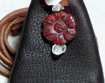 Jasper Sunflower  On Dark Brown Leather Pouch