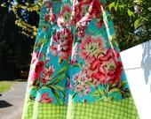 Women's a line skirt, Cottage Garden Skirt, Teal Pink Green Skirt, Amy Butler Skirt,  A-line Skirt, size 2 - 22 women's