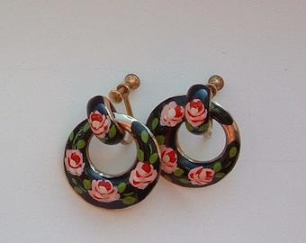 Vintage HandPainted Enameled Metal Hoop Earrings with Pink Roses