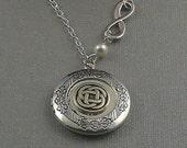 Silver Celtic Knot Locket, Antique Silver, Infinitely Triquetra, Trinity, Pearls, Locket Necklace- WEDDING BELLS