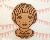 Little Love - Girl with Peter Pan Collar Wooden Brooch