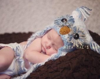 Baby boys Owl Hat Newborn 0 3m 6m White Blue Crochet Photo Prop Baby Clothes boy girl Gender Neutral SUPER SOFT & CUTE
