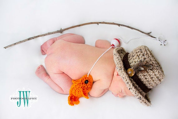 Baby boy fishing hat fish set newborn 0 3m 6m crochet photo for Baby fishing pole