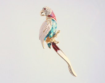 Rhinestone Parrot Brooch Vintage Large Colorful Enamel Bird Figural Pin