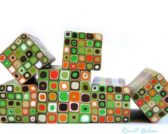 Greens, brown, white and orange polymer clay Retro Dots Square cane , raw and unbaked Fimo millefiori cane by Ronit Golan