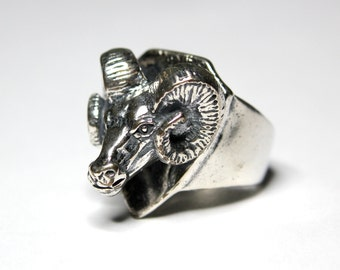 Unisex Sterling Silver Trophy Ram Head Ring Bighorn Sheep Statement Ring 196