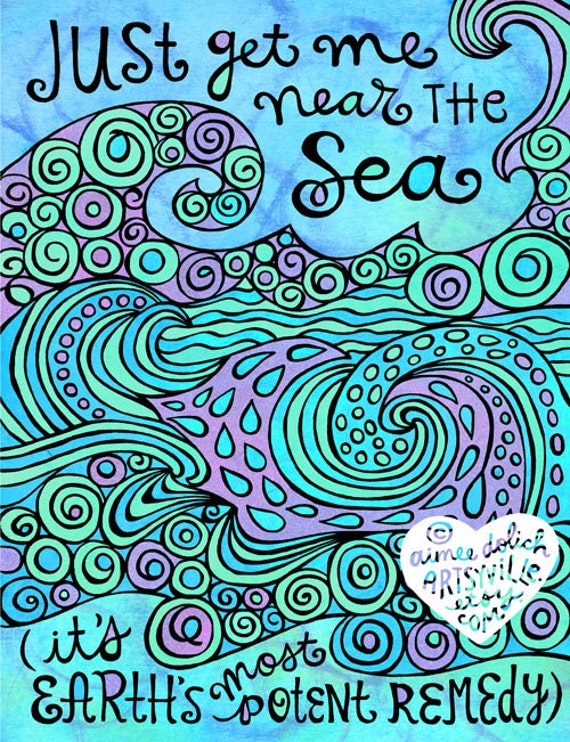 Just Get Me Near The Sea Jumbo Doodle Magnet By Artsyville