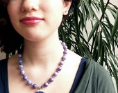 Forever -- Purple Jade and Blue Quartz Beaded Necklace with Vermeil accents