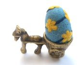 Easter felted egg ornamrnt Blue yellow ball flowers wool handmade spring Weddings decoration gift favor children toy