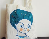 RESERVED Blue tote bag hand-painted organic cotton - Girl shopping bag - Carla