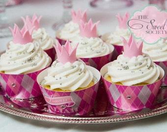 PINK ARGYLE PRINCESS Printable Cupcake Wrappers