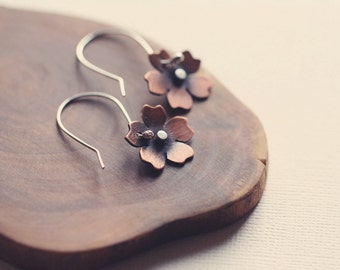 Cherry Blossom Earrings in Copper & Silver