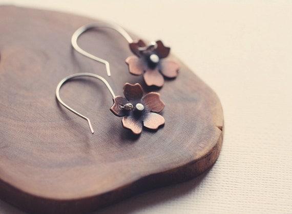 Cherry Blossom Earrings in Copper & Silver