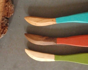 urban rustic handcarved wood knives /set of 3