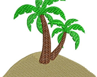 Palm Trees on Sand Beach with fill Machine Embroidery Design 4x4 and 5x7 Instant Download