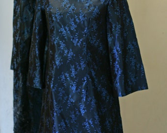 Gorgeous Vintage Blue-Black Satin Brocade Forget-me-not Floral Shift Dress 1960's One-of-a-Kind, Handmade