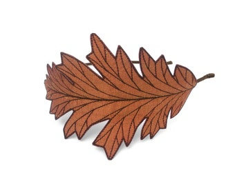 Oak Leaf Headband- Unique Embroidered Silk Fabric Leaf Headband- Cinnamon Spice with Auburn / Reddish Brown Embroidery