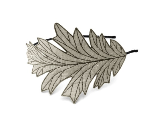 Oak leaf headband beautifully unique embroidered silk fabric