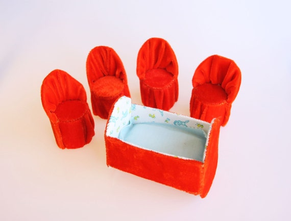 Bright red velvet dollhouse furniture set of 4 chairs and a bed, mid century miniature furniture, girl room decor, retro 1950 doll furniture