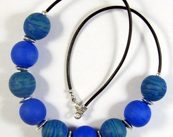 Blue Planet  Lampwork Glass Bead Necklace SRA