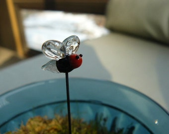 Glass Fairy Garden accessory small firefly with glow in the dark butt. Made to order